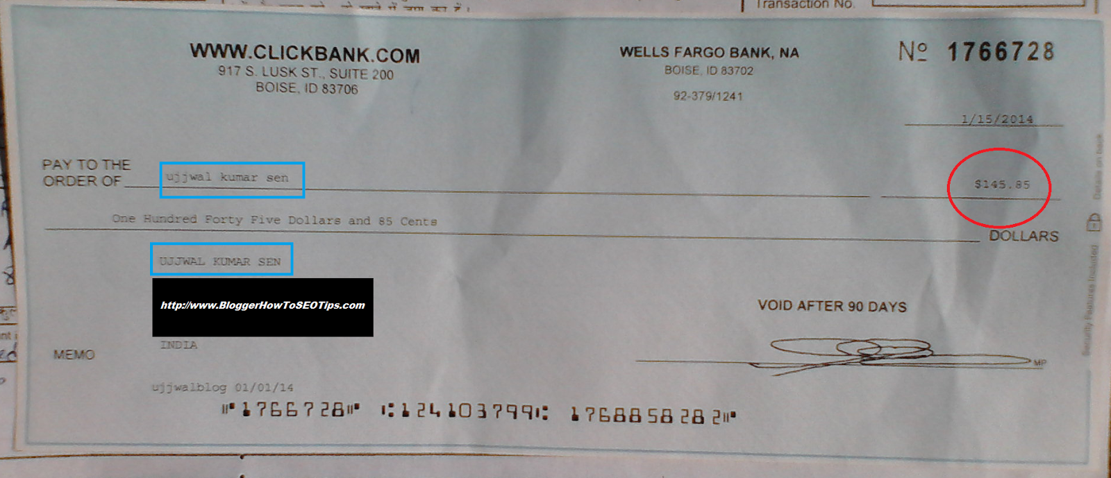 First ClickBank Cheque India