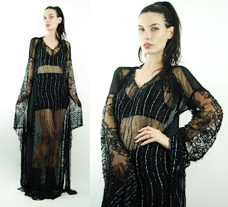 Vintage black silk chiffon maxi caftan fully beaded.