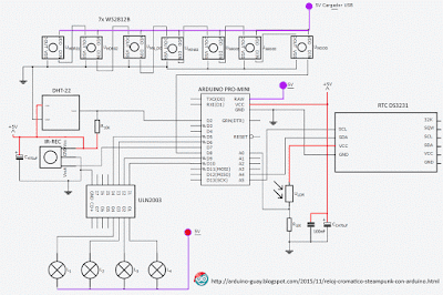 Esquema reloj cromático Arduino