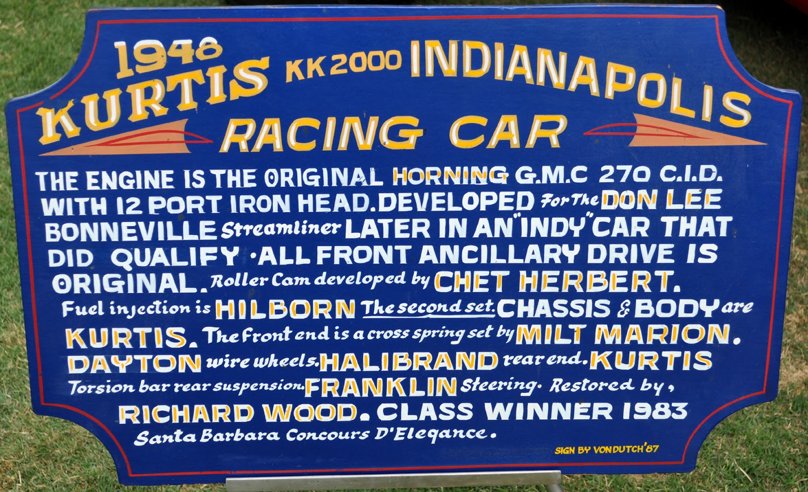 The Kk2000 Kurtis Kraft Indy 500 Racing Car Sign By Von Dutch Investment Banking Blog Articles