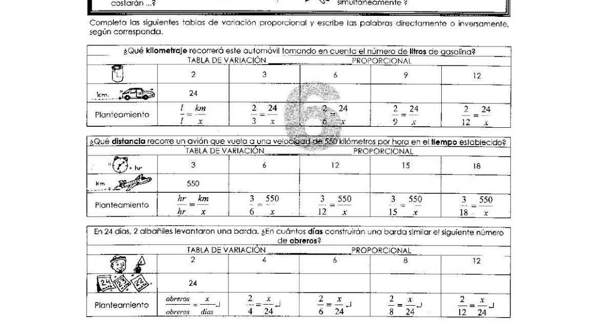 Ejercicios De Variaci 243 N Proporcional Para Ni 241 Os