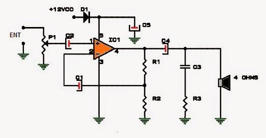 amplificador de 8 8w a 12vdc