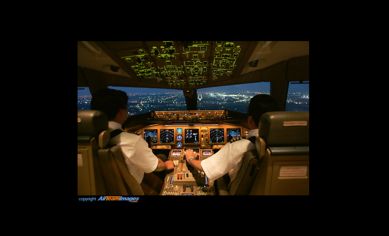 MH370 Boeing 777 cockpit.