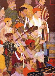 A detail of a miniature of a Mughal durbar: ambassadors and warriors ring jewels in tribute to e court of the Emperor, Shah Jahan.