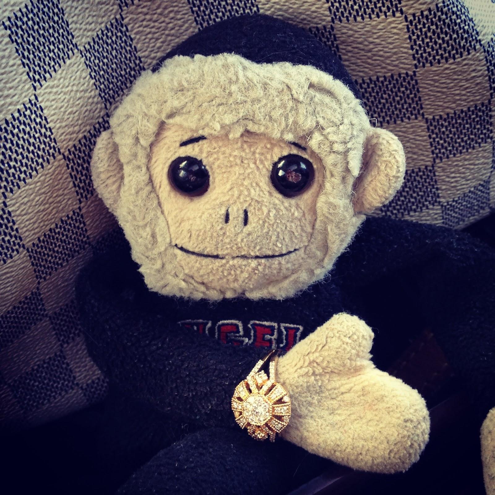 tuna the monkey, tuna, beanie baby, monkey, ty, angels, rally monkey, ring bearer, gold, diamonds, costco jewelry, ring, wedding ring, engagement ring,  date, lunch date