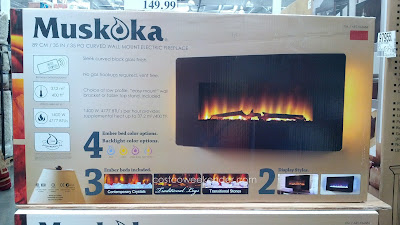 Greenway Home Products Muskoka Curved Wall Mount Electric Fireplace – Sleek curved black glass, remote included