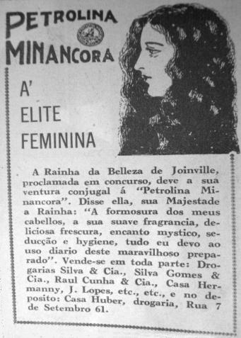 Propaganda do creme Petrolina Minâncora para o ano de 1932 com a Rainha da Beleza de Joinville-SC.
