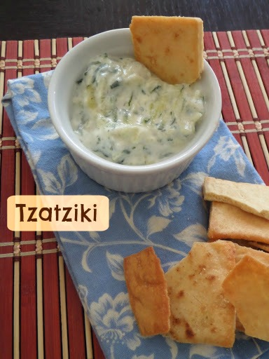 Tzatziki:  A deliciously cool and refreshing yogurt dip/sauce made with cucumbers and dill.