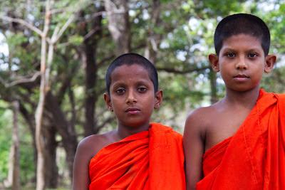A photograph of two novice monks taken at Magul Maha Viharaya in Lahugala, Sri Lanka