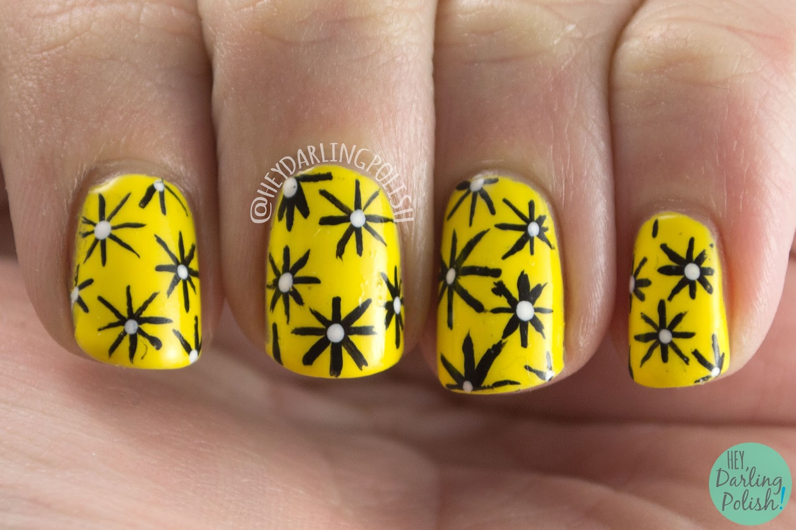 nails, nail art, nail polish, yellow, hey darling polish, fashion, stars, the nail challenge collaborative