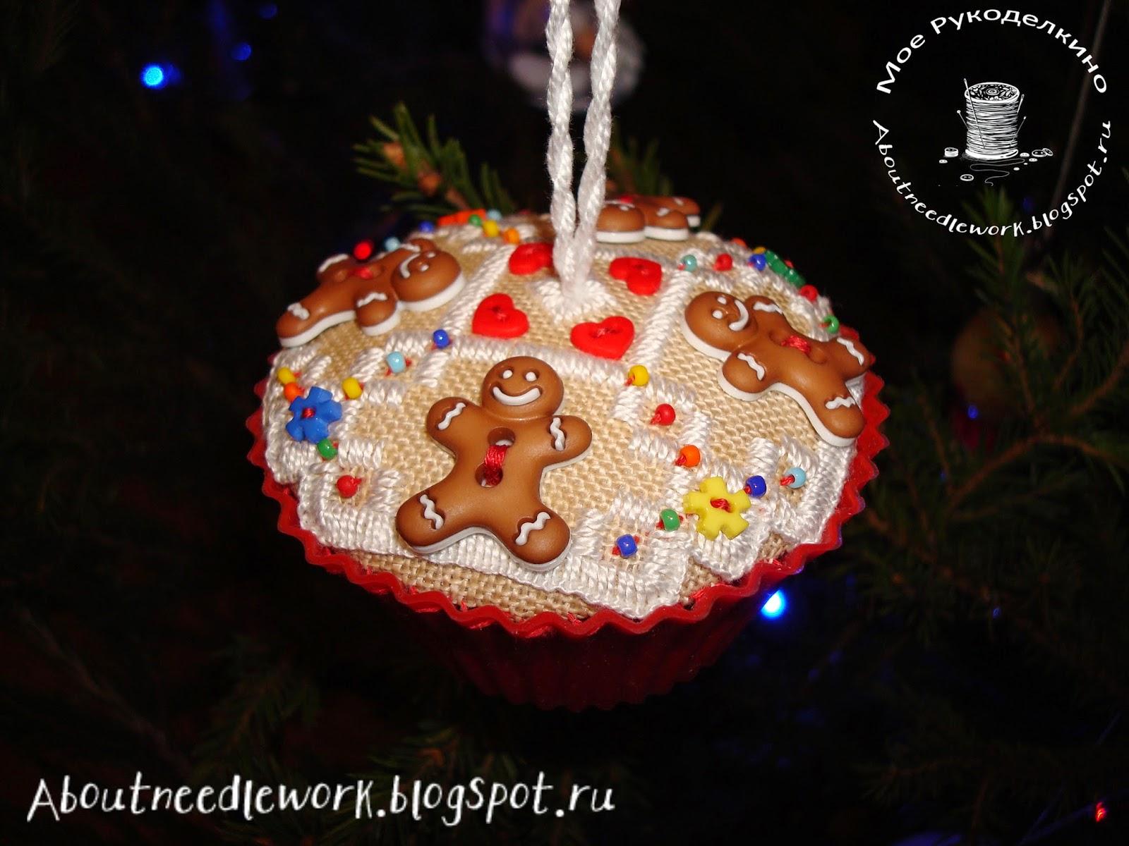 Кексы Gingerbread Cupcakes - вышивка по схеме The Victoria Sampler