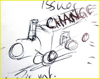 Sketch of a train marked 'change'