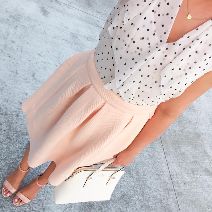 Ann Taylor dot chiffon ruffle top Forever 21 pleated peach blush skirt BP luminate nude sandals heart necklace Kate Spade cedar street maise satchel