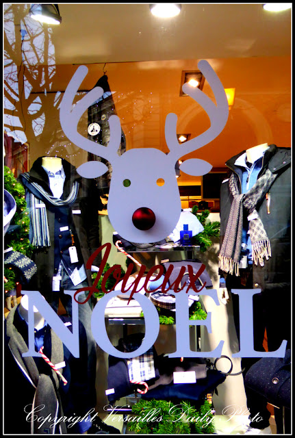 Rudolph red nosed reindeer in shop window in Versailles