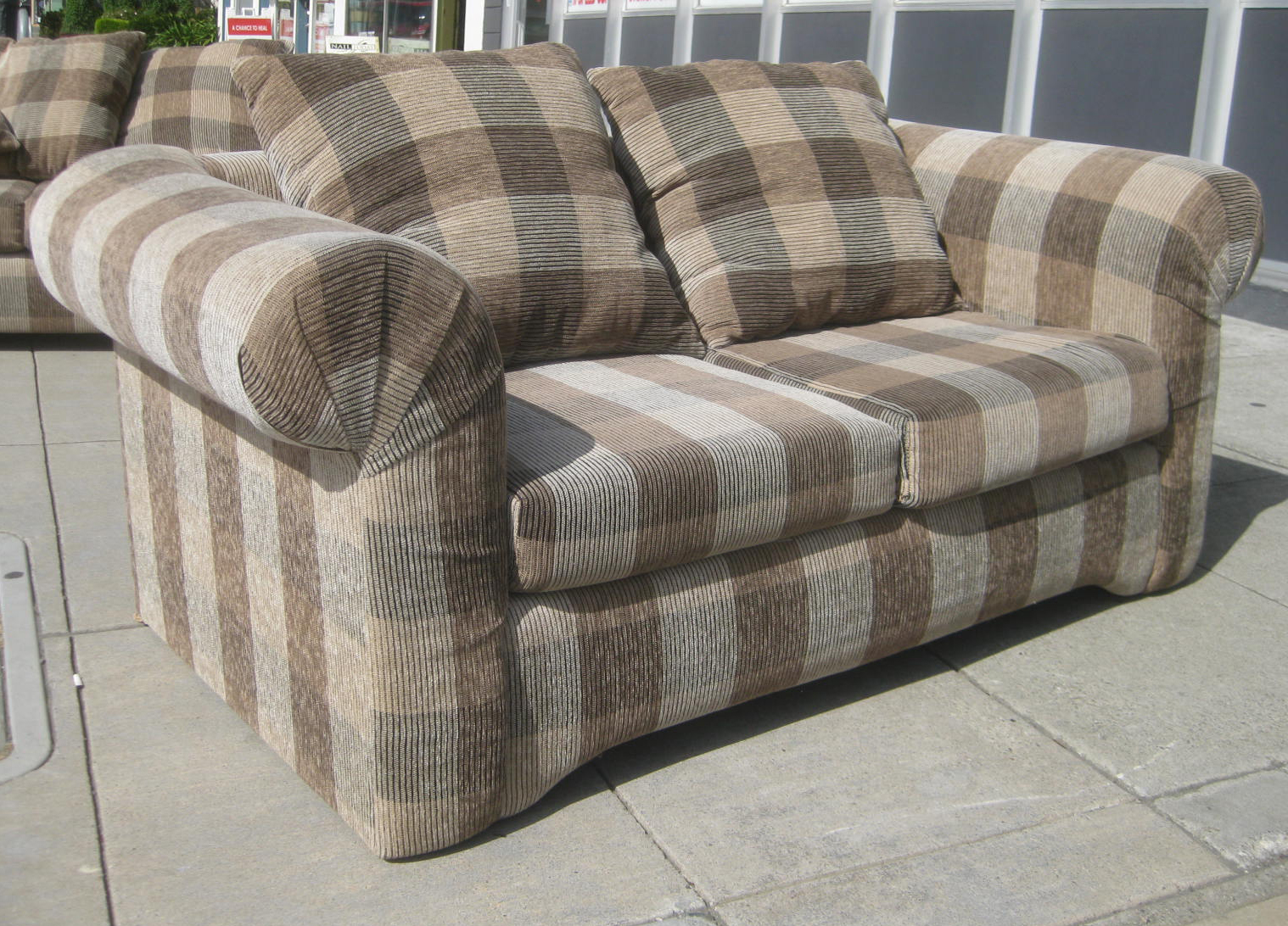 Uhuru Furniture Collectibles Sold Plaid Loveseat 80