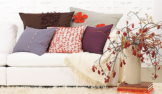 lilac, plum and orange mixed patterns cushions