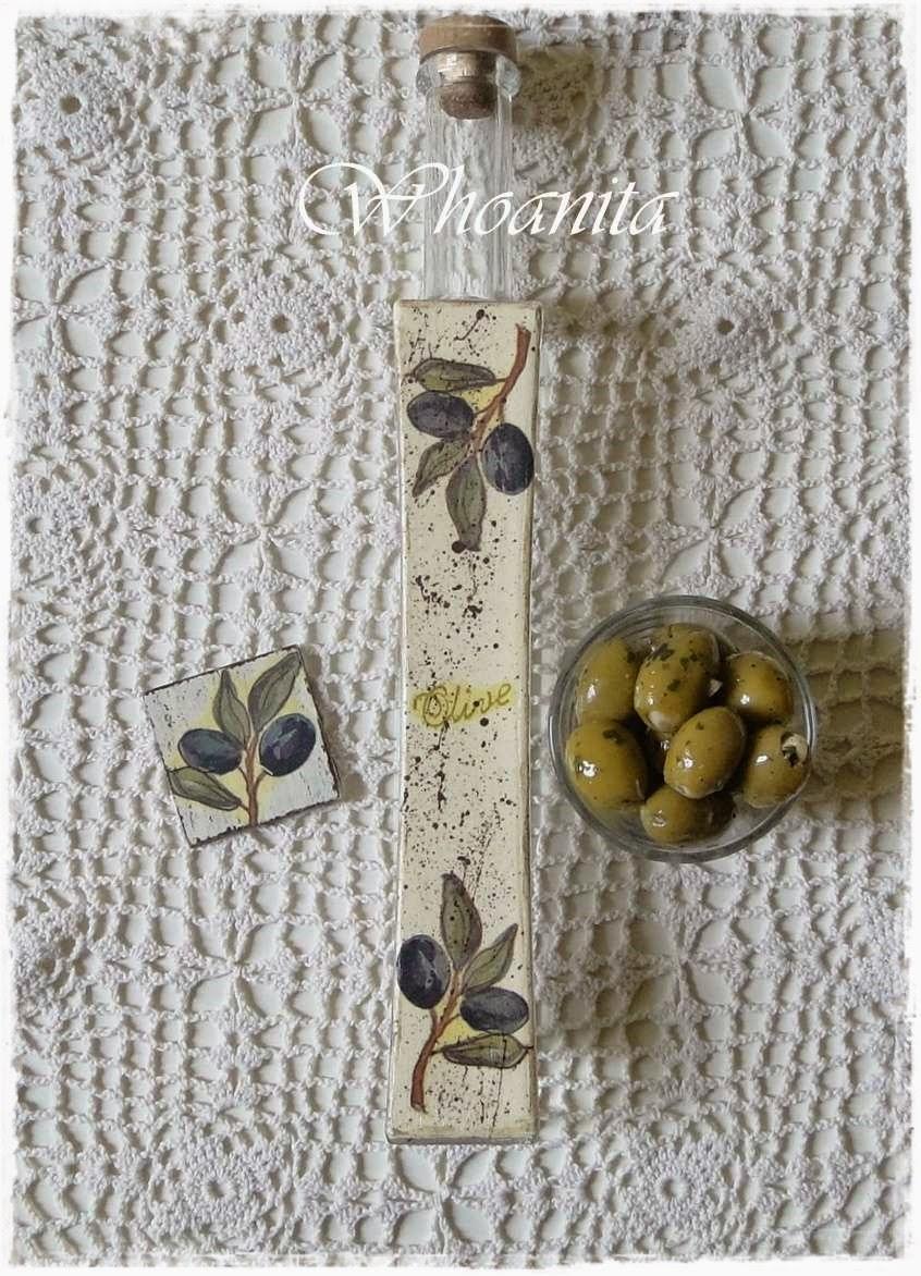 butelka na oliwę z oliwek oraz magnes na lodówkę, decoupage