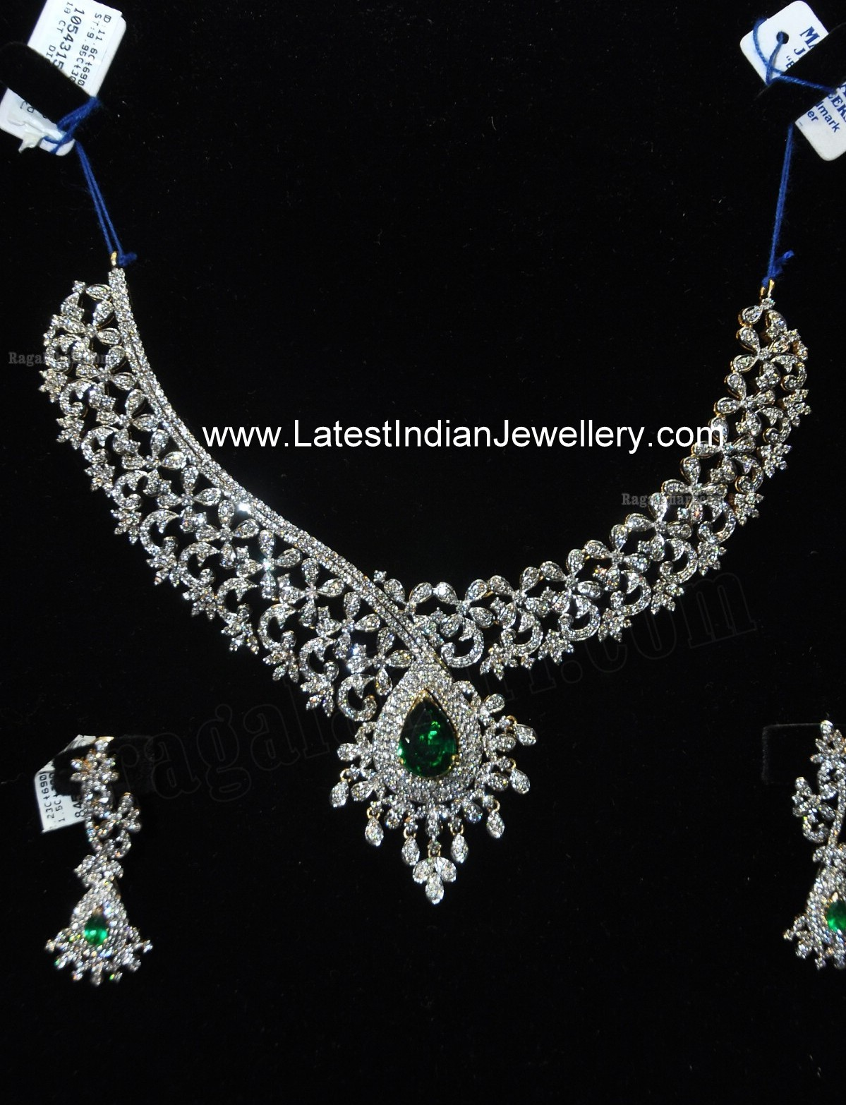 designer indian diamond necklace set with emeralds from