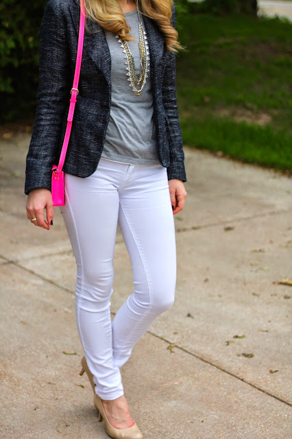 navy boucle blazer, grey tee, white jeans, nude heels, pink Kate Spade crossbody