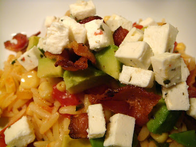 Feta, orzo, and summer veggies