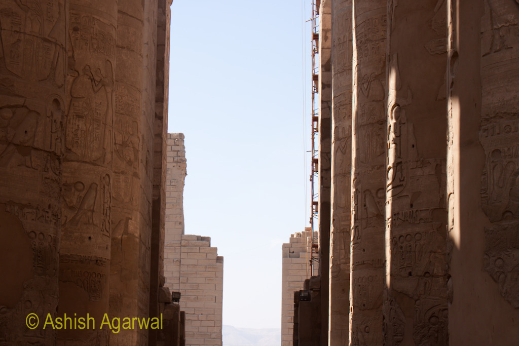 View through the pillars of the Hypostyle Hall in the Karnak temple