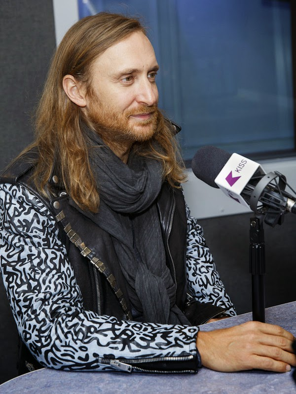 David Guetta wears Saint Laurent by Hedi Slimane Fall Winter 2013 Sumi Ink Club leather jacket to Kiss FM London Studios 9th October 2014