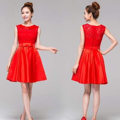Contoh Model Baju Pesta Desain Sederhana Warna Merah
