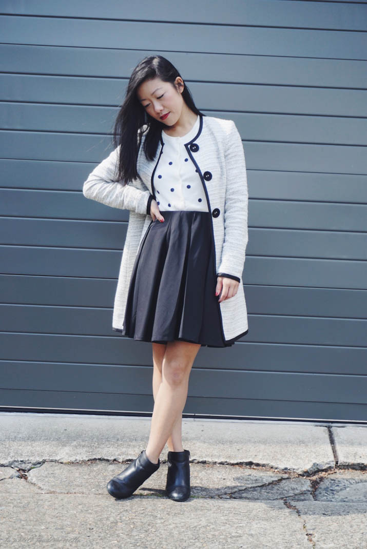 La Petite Mademoiselle: short skirt, long jacket.