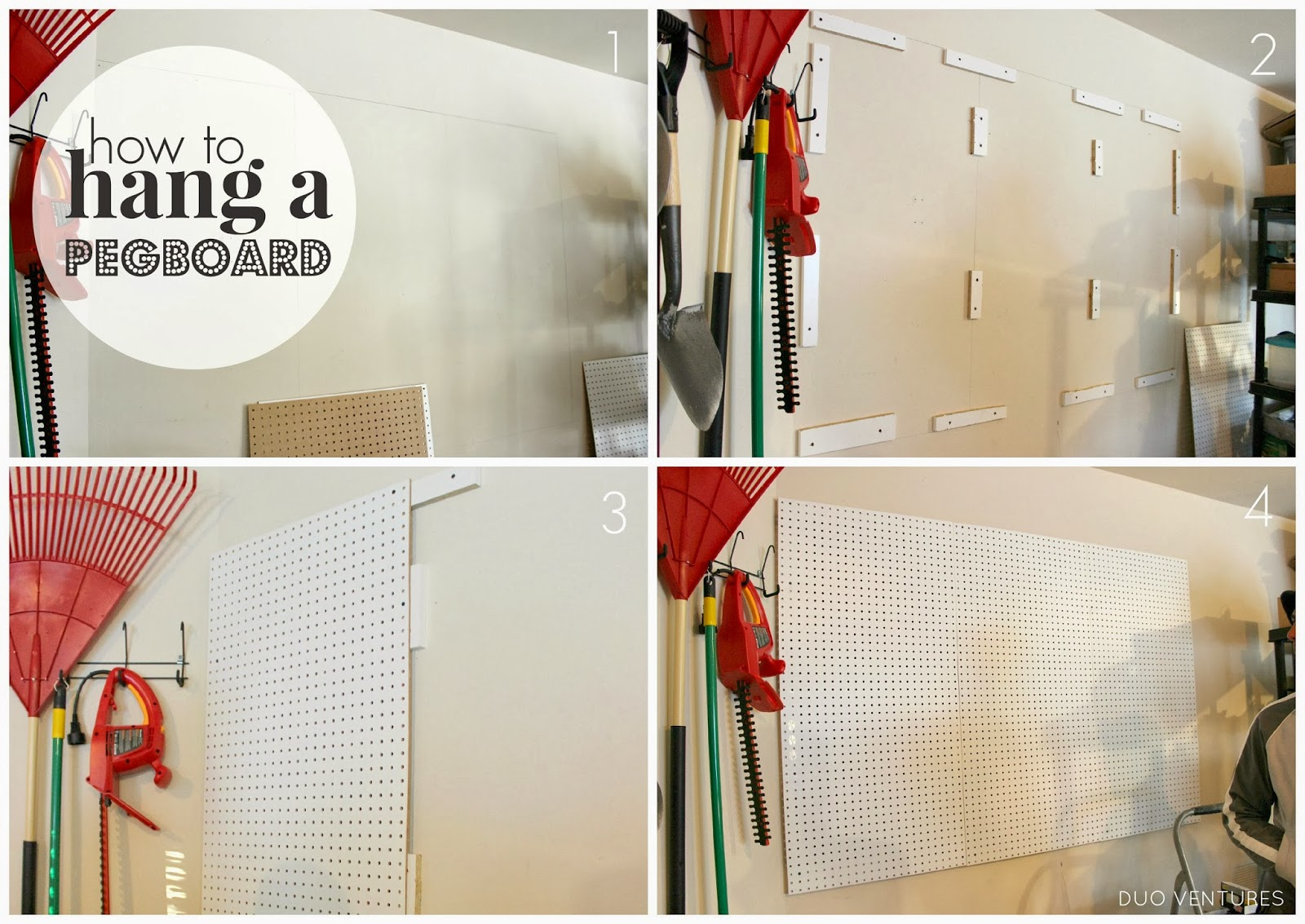 duo ventures how to hang a pegboard. Black Bedroom Furniture Sets. Home Design Ideas