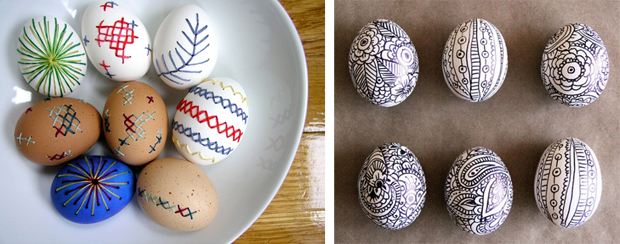 huevos de Pascua decorados con puntadas o lineas. Easter decorated eggs