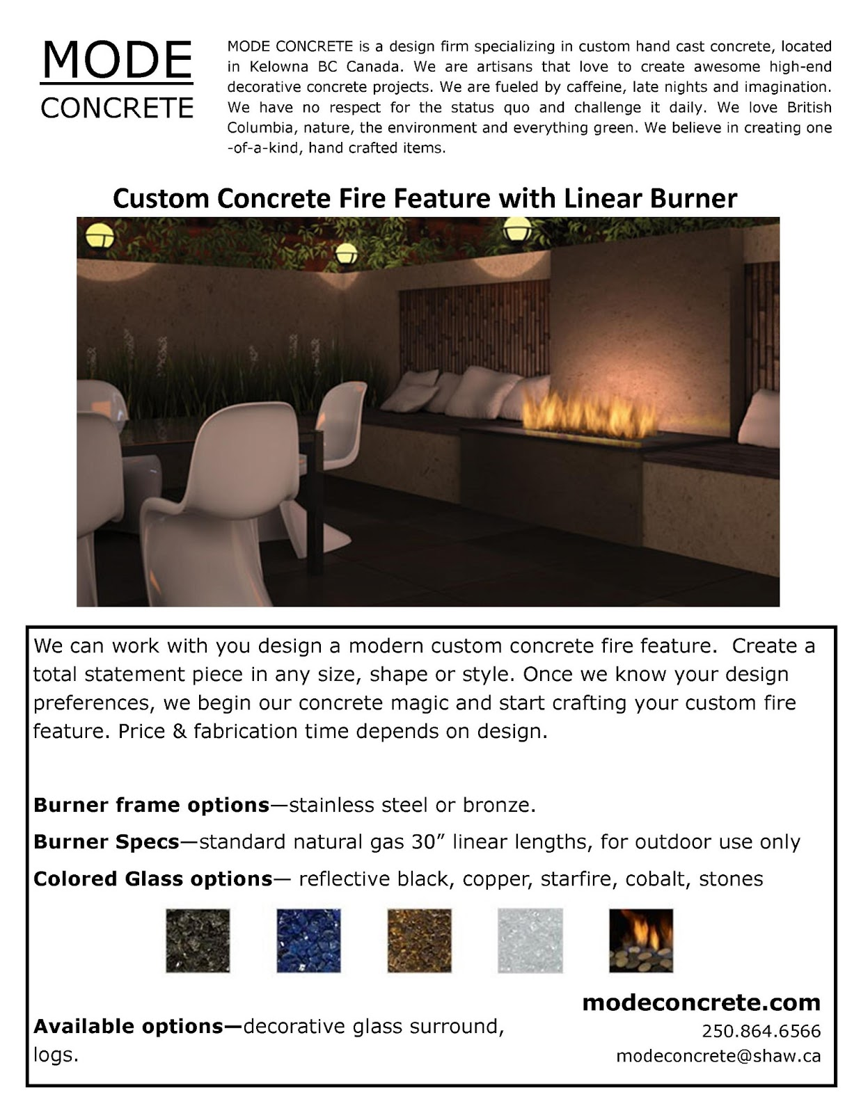 MODE CONCRETE: Outdoor Contemporary Concrete Fire Tables and Fire