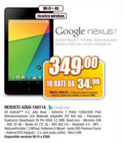 Il nuovo tablet con display full hd e android 4.3 di google in offerta a tasso zero