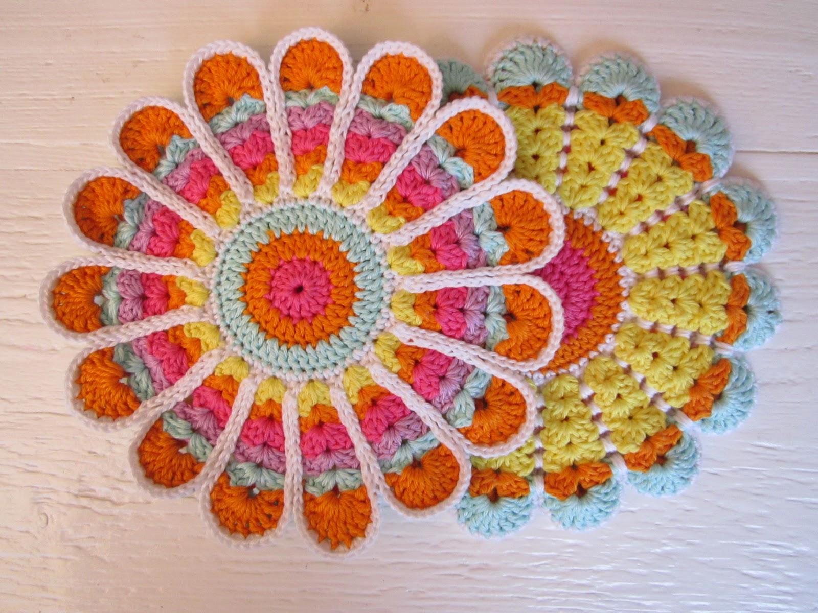 Crochet Flower Potholder Pattern : Color n Cream Crochet and Dream: Tutorial Vintage Flower ...