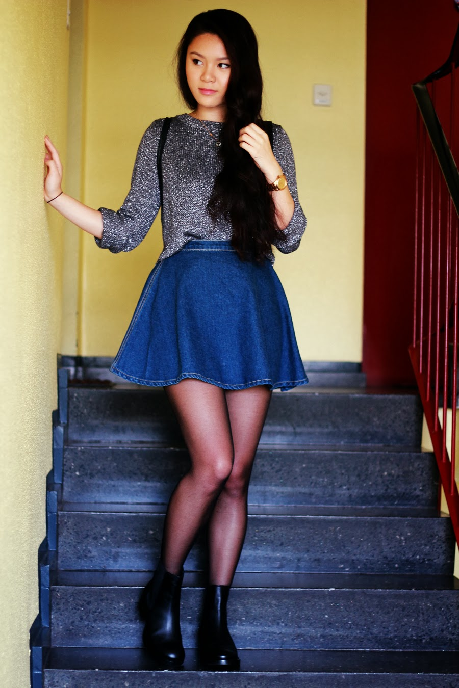 American Apparel Denim Circle Skirt ASOS Adverse