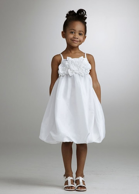 Flower Girl Dresses - David's Bridal Taffeta Empire Bubble Dress with Floral Detail