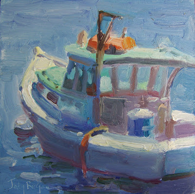 Lobster boat painting Maine