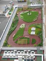 jardim no topo de um prédio