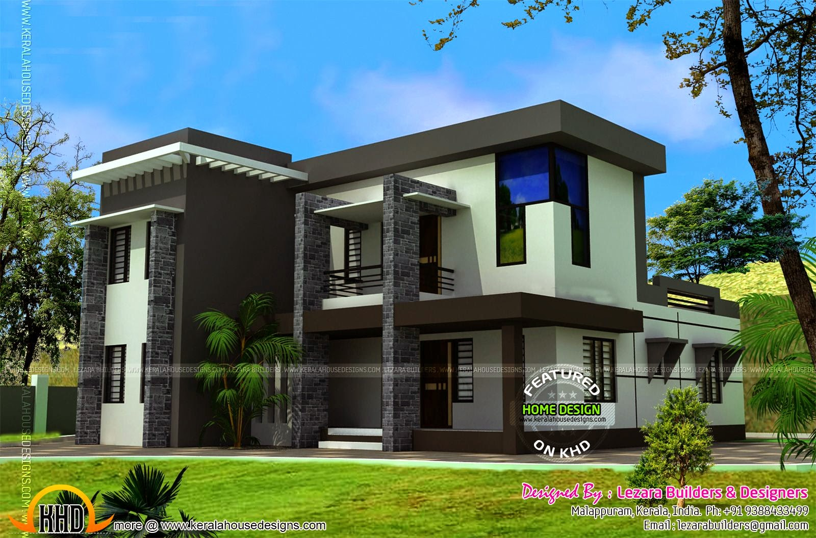 Siddu buzz online modern flat roof house 2550 square feet Modern flat roof house designs