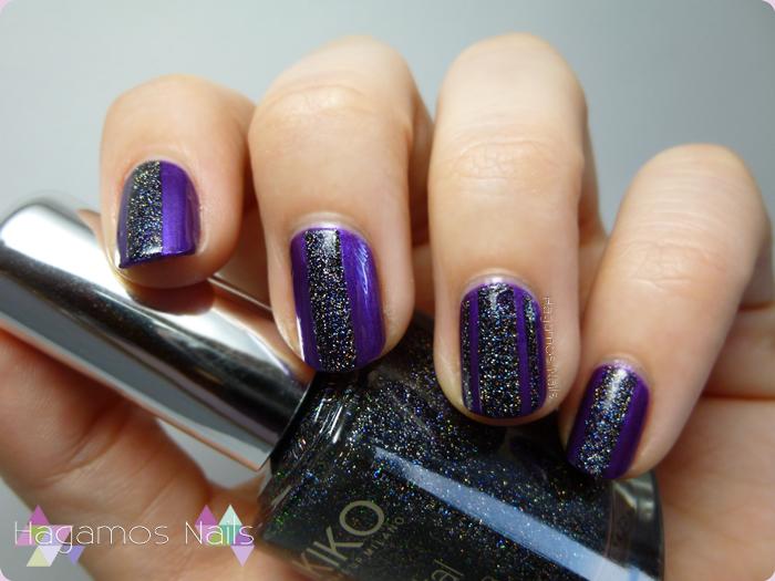 Violeta+Glitter Holografico. Hagamos Nails
