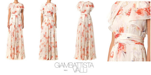 Crown Princess Mette-Marits's Style : Giambattista Valli Floral Print Silk Georgette Gown Dress