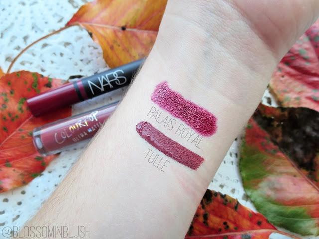 a picture of Nars Satin Lip Pencil in Palais Royal, ColourPop Ultra Matte Lip in Tulle (swatch)