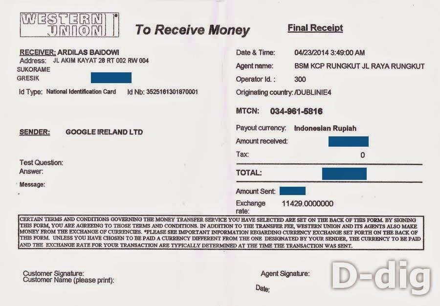 Bukti menerima uang - Cara Ambil Uang Google Adsense Via WU di Bank Syariah Mandiri