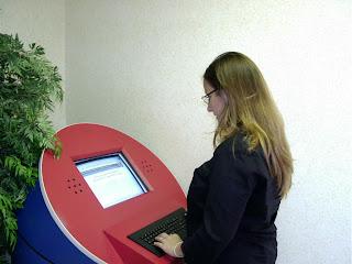 Sandra Echeverri programs second generation InfoPass kiosk (2004)