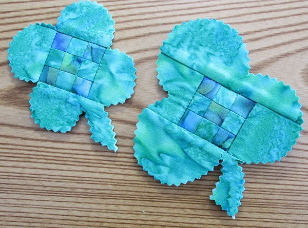 quilted shamrock pin