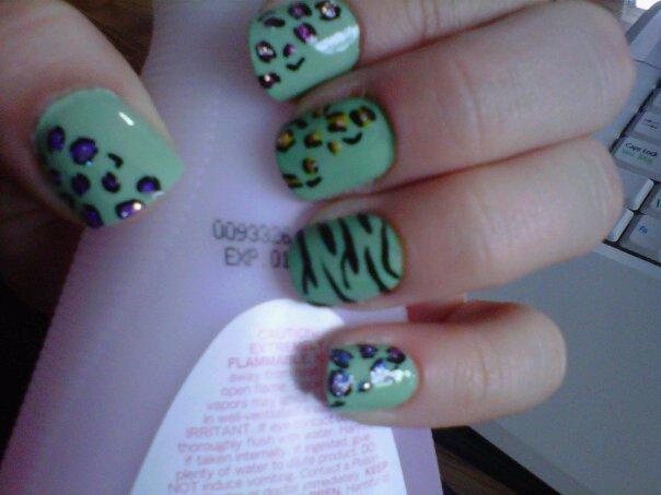 Cheetah and zebra print nail designs
