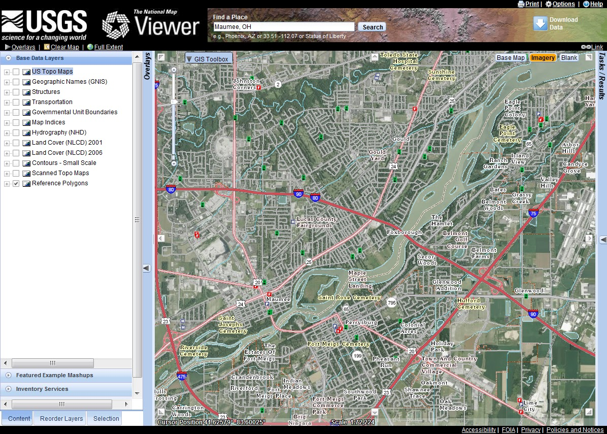 Mad World Map%0A The same view of Maumee  Ohio with the aerial image background turned on