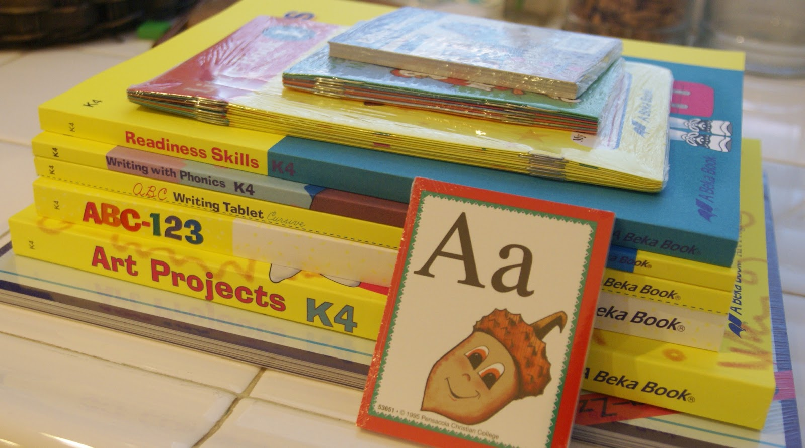 Bear's new schoolbooks -- she officially starts preschool at home