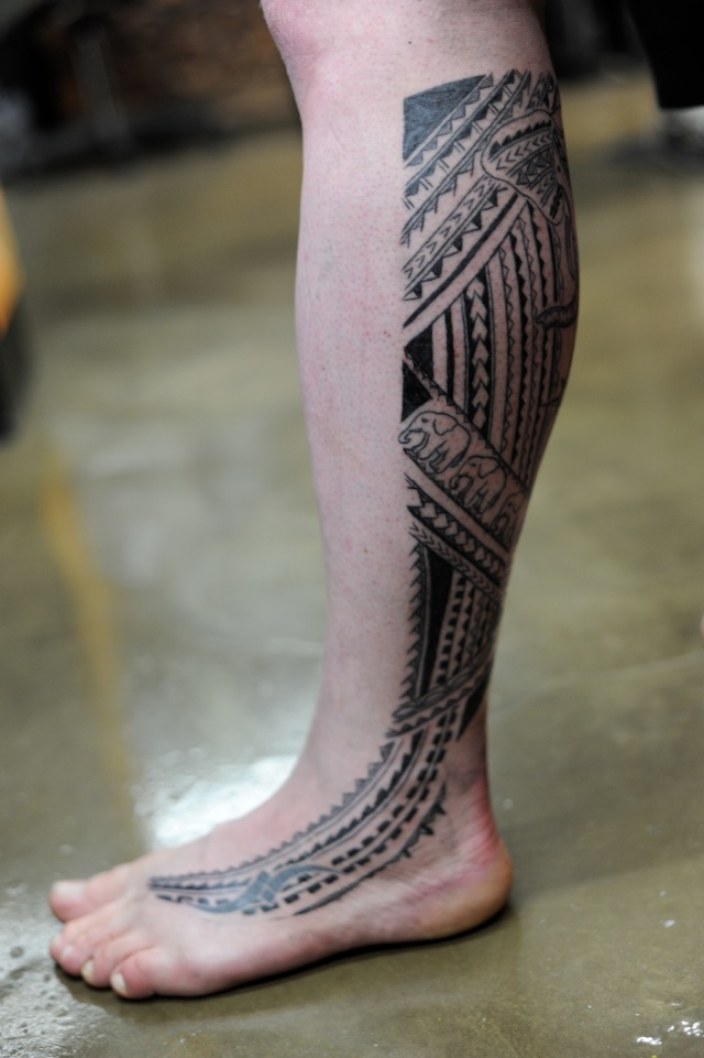 Polynesian Leg Tattoo Designs