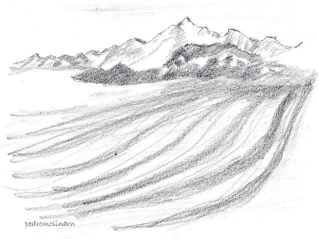 Dibujo a lápiz, montañas