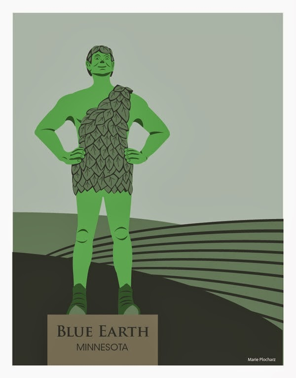 Jolly Green Giant Blue Earth Minnesota - MN Roadside Attraction Travel Poster